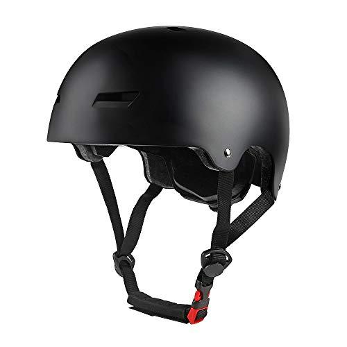 phzing casco da skateboard ideale per skateboard urbano/scooter/pattinaggio in linea con archetto regolabile adatto per adulti/bambini/ragazzi, nero, m