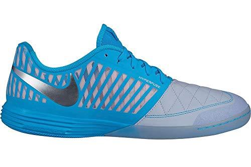 Nike Lunargato II, Scarpe da Calcetto Indoor Uomo, Multicolore (Half Metallic Silver/Blue Fury 000), 42 EU