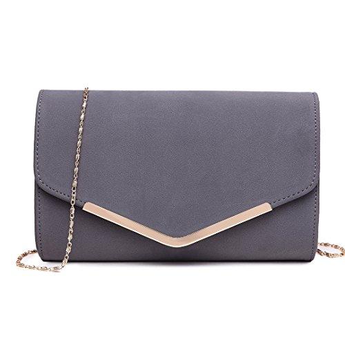 Miss Lulu Elegante Kettentasche Damen Tasche Clutch Bag Handtasche Hochzeit Abendtasche Umhängetasche Mädchen (LH1756 Grau) (Kleine Taschen)