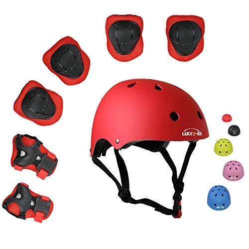 Lucky-M Kinder 7 Stücke Outdoor Sports Schutzausrüstung Set Jungen Mädchen Fahrradhelm Sicherheit Pads Set [Knie Ellbogenschützer und Handgelenkschutz] für Roller Scooter Skateboard Fahrrad (Rot)