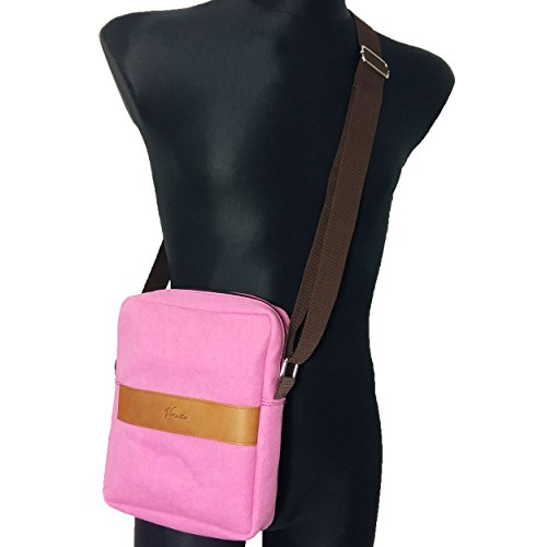 Venetto Umhängetasche Herren Damen Unisex Schultertasche Freizeit Business Tasche aus Filz mit Echtleder-Applikationen (Schwarz Meliert) Pink