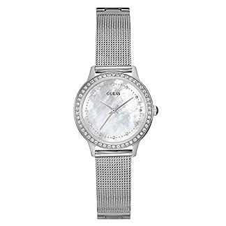 Guess w0647l1, disfraz, tono de plata, crystal-accented bisel, WR