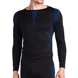 Sport Funktionswäsche Herren Langarm Hemd Seamless von celodoro schwarz/blau Größe: S/M