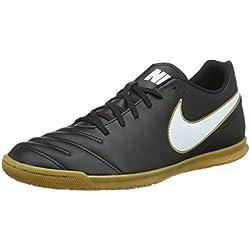 Nike Tiempo Rio III IC, Botas de Fútbol para Hombre, Negro / Blanco / Dorado (Black / White-Metallic Gold), 39 EU
