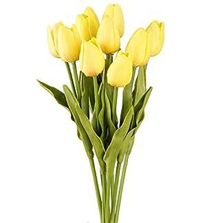 TININNA 10 Pcs Artificiales de Tulipán de la Flor Artificial para la decoración casera sin jarrón y Cesta del Hydrangea para Decoracion de Cocina,Fiestas, Bodas.
