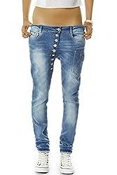 bestyledberlin Damen Boyfriend Jeans Baggy Style Damenjeans Skinny Fit Hose Knopfleiste j02kw 40/L