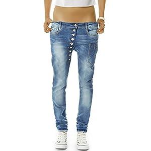 bestyledberlin Damen Boyfriend Jeans Baggy Style Damenjeans Skinny Fit Hose Knopfleiste j02kw