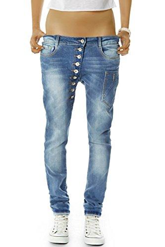Bestyledberlin Damen Boyfriend Jeans Baggy Style Damenjeans Skinny Fit Hose Knopfleiste j02kw 40/L (Navy Blue Womens Strass)