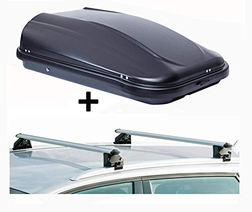 VDP Dachbox JUPRE320 320Ltr schwarz glänzend abschließbar + Dachträger CRV107A kompatibel mit Dacia Lodgy (5 Türer) ab 2012
