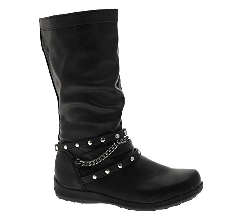 NEW LADIES GIRLS KIDS KNEE LENGTH RIDING FAUX LEATHER BOOTS STRETCH FLOWER...