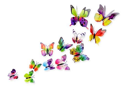Schmetterlinge 3D Effekt Kühlschrank Schmetterling Magnet mit Klebepunkten Wandtattoo bunt Wand Aufkleber Dekoration Wohnzimmer Schlafzimmer Küche Kinderzimmer Deko Wall Sticker ()