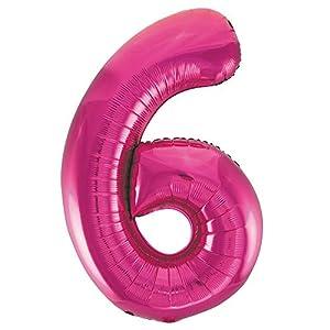 Unique Party- Globo gigante número 6, Color rosa, 86 cm (55736)