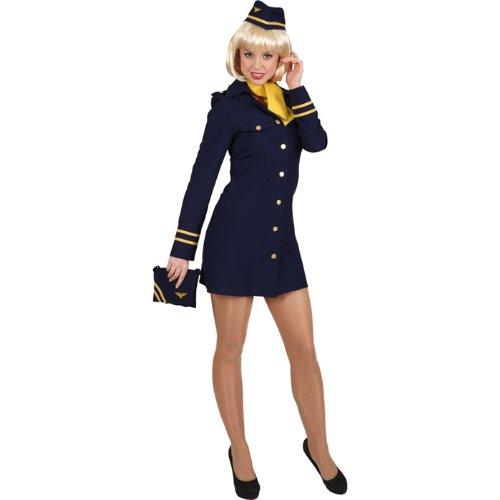 NEU Damen-Kostüm Stewardess mit Hut, blau 3-tlg Gr. 40 (Mann Mit Dem Gelben Hut Kostüm Erwachsene)