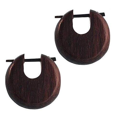 Pin Creolen Holz rund tränenförmig Horn-Pin verschiedene Hölzer 23 mm unisex
