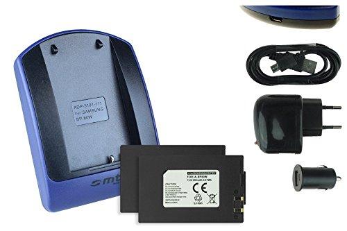 2x batteria + caricabatteria (usb/auto/corrente) per samsung ia-bp80w per sc-d381 d382 d395... / vp-dx100, dx200... v. lista!
