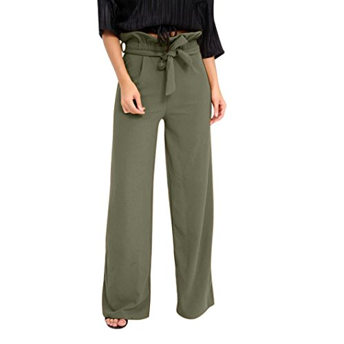 UFACE Sommer Damenhosen hohe Taille Lautsprecher breite Beinriemen Lotusblatt Hose (M/(38), Armeegrün) Ss-chino-hose