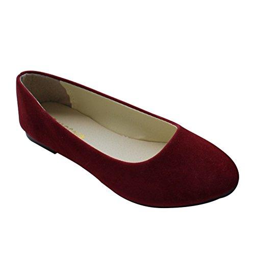 MISSMAO Stiefel Damen Flachschuhe Einzel Schuhe Frauen Sandalen Casual Halbschuhe Comfort Sohle Freizeitschuh Wildleder,Weinrot,EU 36 - Schuh Frauen Stiefel