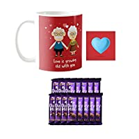 YaYa cafe Valentine Gifts Combo for Husband Wife Mug, 5 Dairy Milk Cadbury Chocolate Love is Growing Old with You, with Coaster