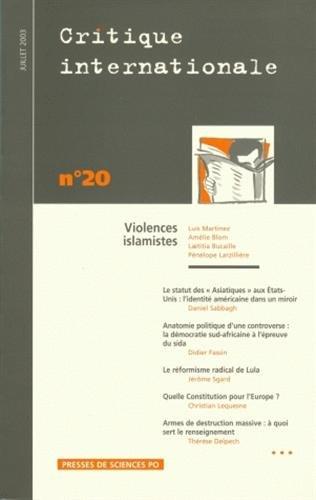 Critique internationale 2003, numéro 20 : Violences islamistes