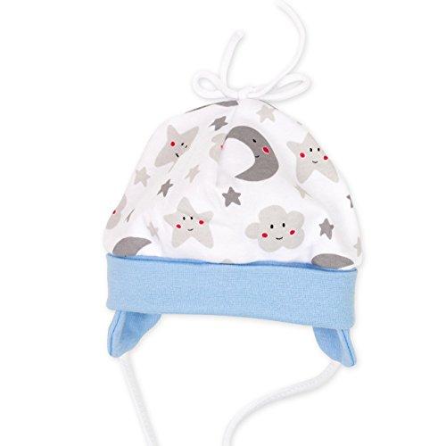 Baby Sweets Baby Mütze Jungen weiß grau hellblau | Motiv: Sweet Dreams | Babymütze zum Binden für Neugeborene & Kleinkinder | Größe: 9 Monate (74)... (Baby Jungen Mützen)