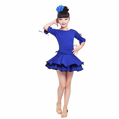 YI WORLD Mädchen Lateinischer Tanz Kleidung Kind Ballett Polyvinylchlorid Kleid rot Gelb blau , blue , 140cm (Lyrische Tanz Kostüme Blau)