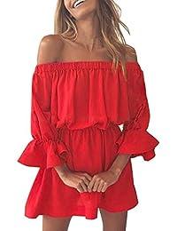 Lannister Fashion Vestiti Donna Eleganti Estivi Ragazza Vestito Cerimonia  Corti Abito da Giorno Linea Ad A A Pieghe Spalla di… 56064d26bed