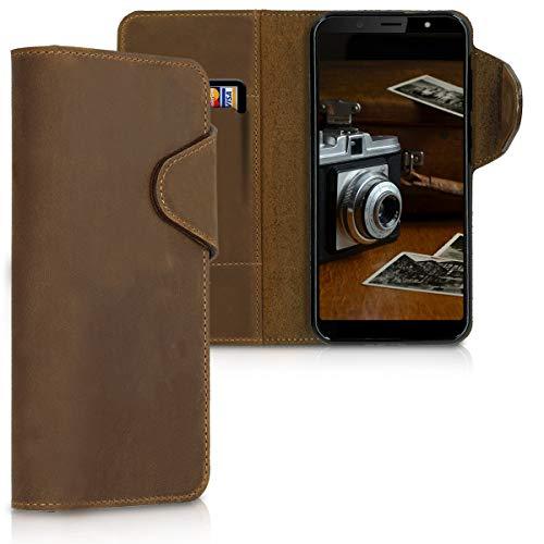 kalibri HTC U12 Life Hülle - Leder Handyhülle für HTC U12 Life - Braun - Handy Wallet Case Cover