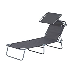 Outsunny Sun Bed Chairs Garden Lounger Recliner Reclining Folding Relaxer Beach Chair Patio Camping Textilene - Grey from MHstar UK LTD