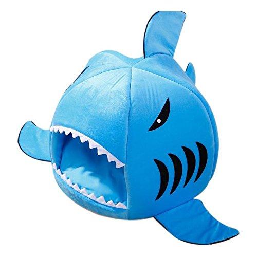 newwestocean Pet Shark Bett Warm Innen Kätzchen Hund Katze Sofa Bett Puppy Pet House mit Matte (blau/pink/grau kleine Größe) (Shark Anzug Für Hunde)