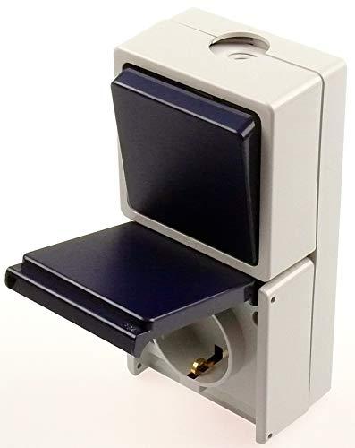 Aufputz Feuchtraum Steckdose/Schalter/Kombinationen / IP54 Außenbereich grau-dunkelblau