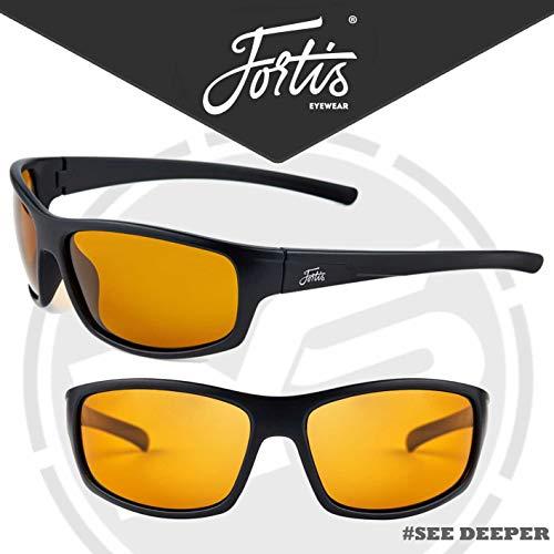 Fortis Eyewear Essentials Angeln Brille mit Polarisiert Am/Pm oder 24/7 Linsen - Am/Pm Bernstein Linsen