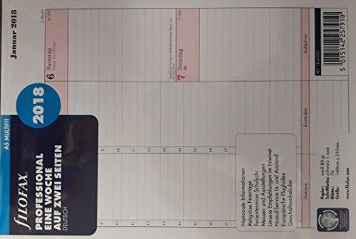 Filofax Professional, Eine Woche auf ZWEI Seiten 2018, Deutsch