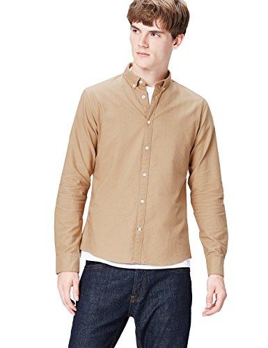 Oxford Woven Oxford-hemd (T-Shirts Herren Schmales Freizeithemd, Braun (Plain Oxford/511), Gr. 50 (Herstellergröße: Medium))