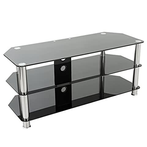 Gloss Black Glass TV Stand, Silver Legs, 3 Tier, Cable