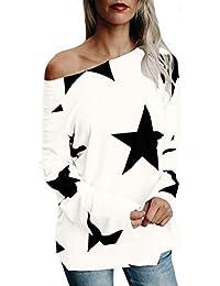 StyleDome Mujer Camiseta Estrella Otoño Invierno Mangas Largas Blusa Hombros Descubiertos Cuello Barco Elegante Casual Top