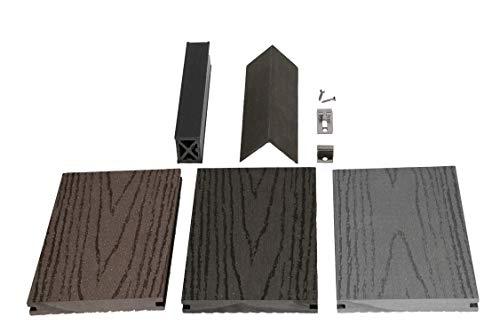 WPC Terrassendiele Volldiele Inovation 138 x 19 mm Musterbox mit allen Systemteilen