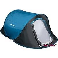 Dunlop 2 Personen Zelte Pop-up, Kuppelzeltet Camping Outdoor Zelt, Blau/Grau, 255 x 155 x 95 cm