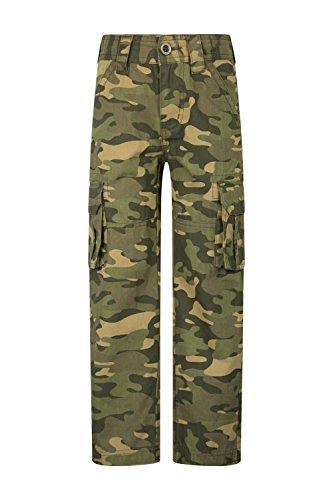 Mountain Warehouse Camo Cargohose Für Kinder - Hose aus 100% Baumwolle, leicht, atmungsaktiv, Verstellbarer Bund - Für Mädchen und Jungen - Wandern, Frühling Camouflage 128 (7-8 Jahre)