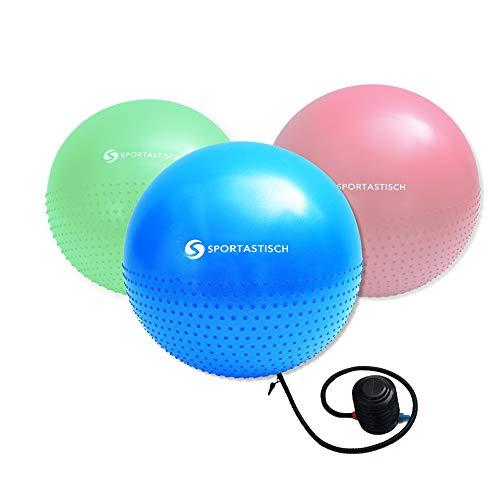 Sportastisch Top¹ Gymnastikball Massage Gym Ball mit Noppen und Luftpumpe | Premium Sitzball mit Anti-Burst-Schutz | GRATIS E-Book und bis zu 3 Jahre Garantie² -