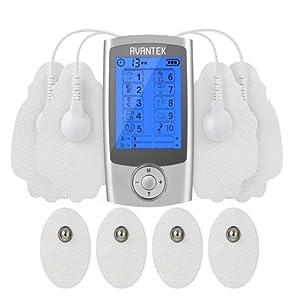 AVANTEK Electroestimulador Digital Masaje 2 Canales y 10 Modos de Impulsos Aparato, 20 Niveles de Intensidad con Temporizador de 10-60 Minutos; Pantalla LCD
