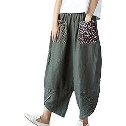 NiSeng Mujer Estilo Étnico Remiendo Pantalones Anchos Casual Lino Pantalon Casual Harem Pantalones Ejército XL