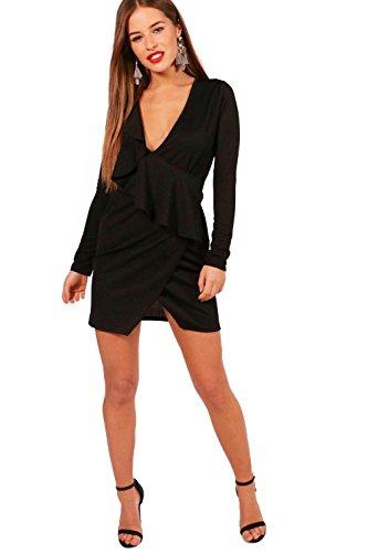 YourPrimeOutlet Black Womens Petite Julie Ruffle Crepe Wrap Dress