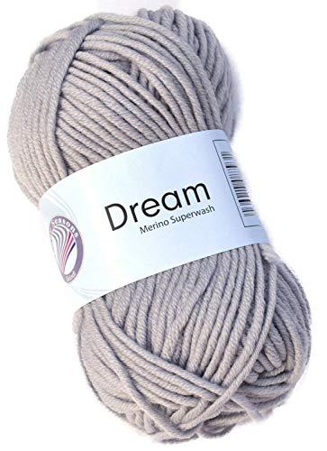 Gründl Laine Dream FB. 31 Gris Laine mérinos pour aiguilles 6-7 à tricoter & Crochet