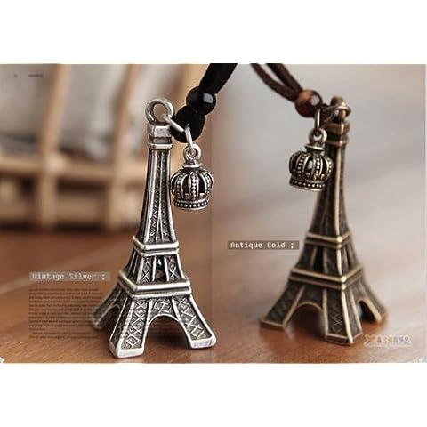 Retro Fashion Unique Torre Eiffel Corona collana della catena del maglione, 2 pc (argento antico + Antique Copper)