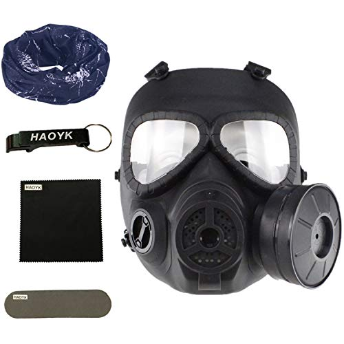 haoYk táctico Dummy anti niebla máscara de gas M04 con Turbo ventilador Airsoft paintbal protección Gear (Negro)