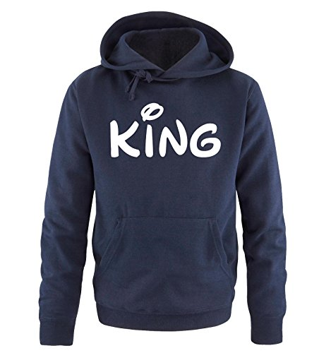 Comedy Shirts - KING - Comic - Herren Hoodie - Navy / Weiss Gr. S (Disney Paare Sweatshirts)