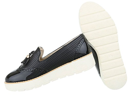 Damen Halbschuhe Schuhe Slipper Loafer Mokassins Flats Slip On Schwarz Pink Silber Weiß 36 37 38 39 40 41 Schwarz