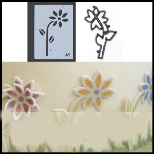 Patchwork Cutter & Set di stencil Margherita - per Cake Design