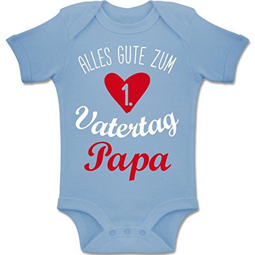 Shirtracer Vatertag Baby - Alles Gute zum ersten Vatertag V1-1-3 Monate - Babyblau - BZ10 - Baby Body Kurzarm Jungen Mädchen