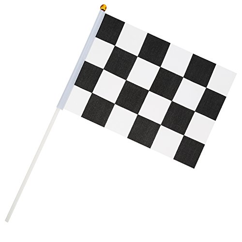 8 x 5,3 Zoll Racing Polyester Flags mit Kunststoff-Stick (Checkered Flag Banner)